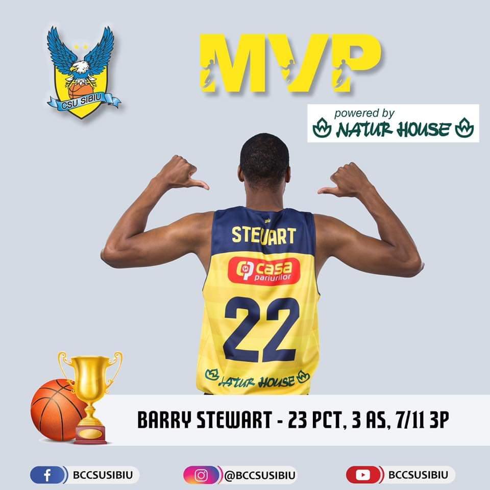 Barry Stewart, cel mai bun jucător al BC CSU Sibiu care a marcat 23 de puncte
