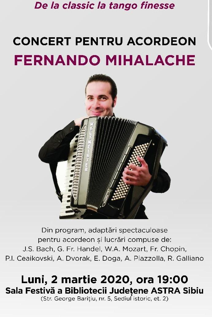 Concert pentru acordeon susținut de Fernando Mihalache la Biblioteca ASTRA