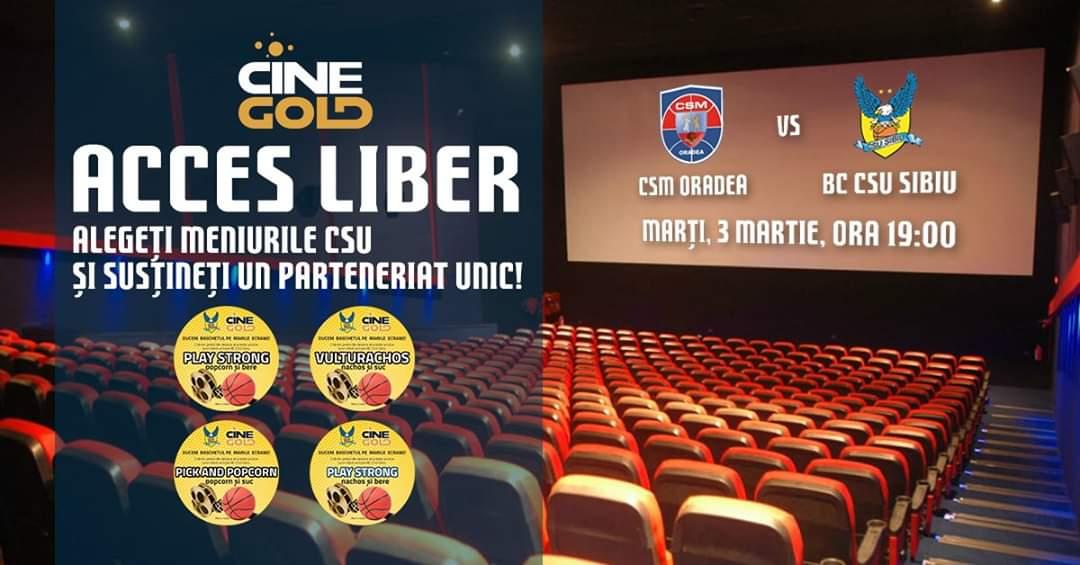Partida dintre BC CSU Sibiu și CSM Oradea, transmisă live la CineGold