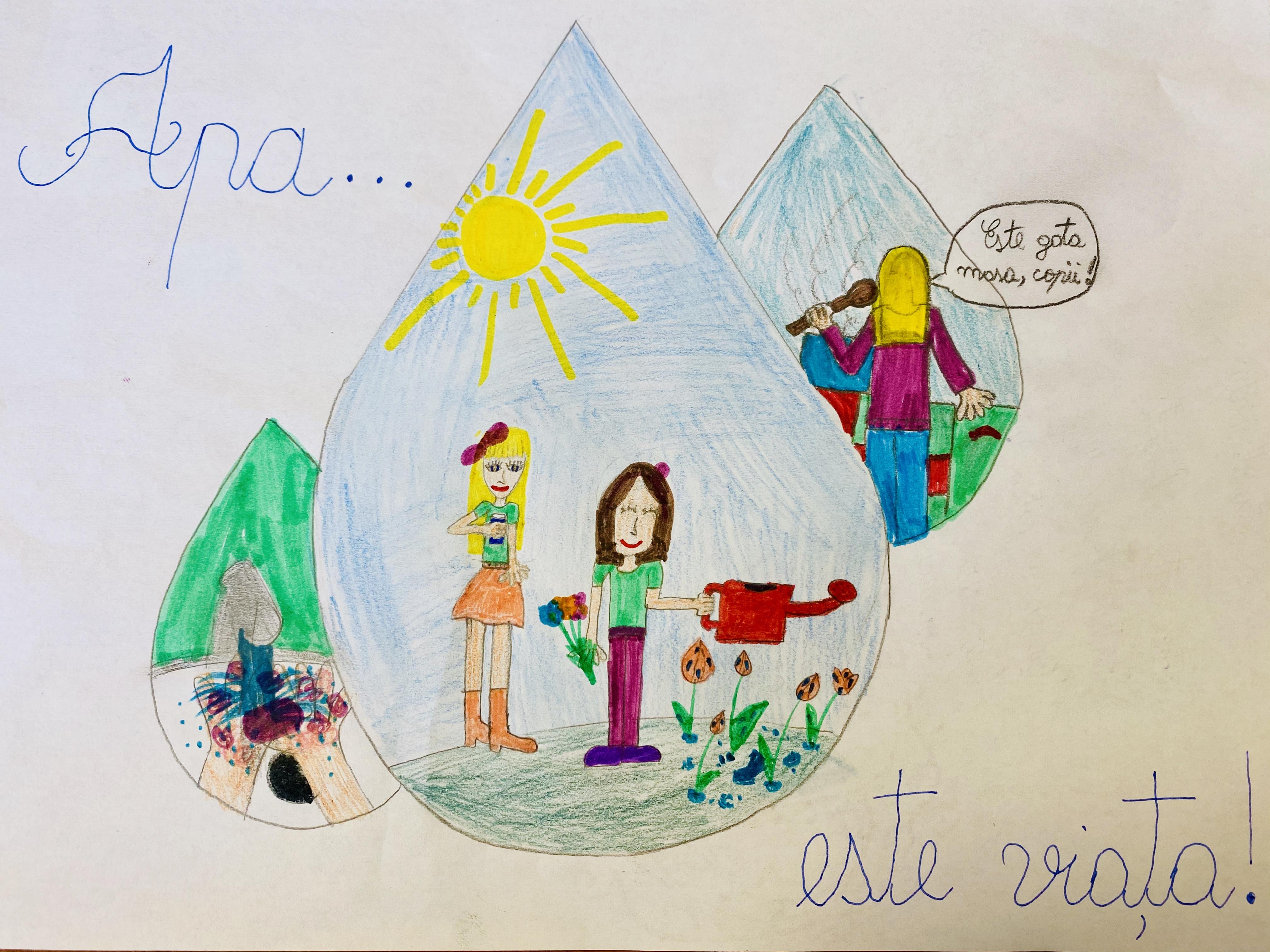 Desene realizate de copii de grădiniță cu ocazia Zilei Mondiale a Apei