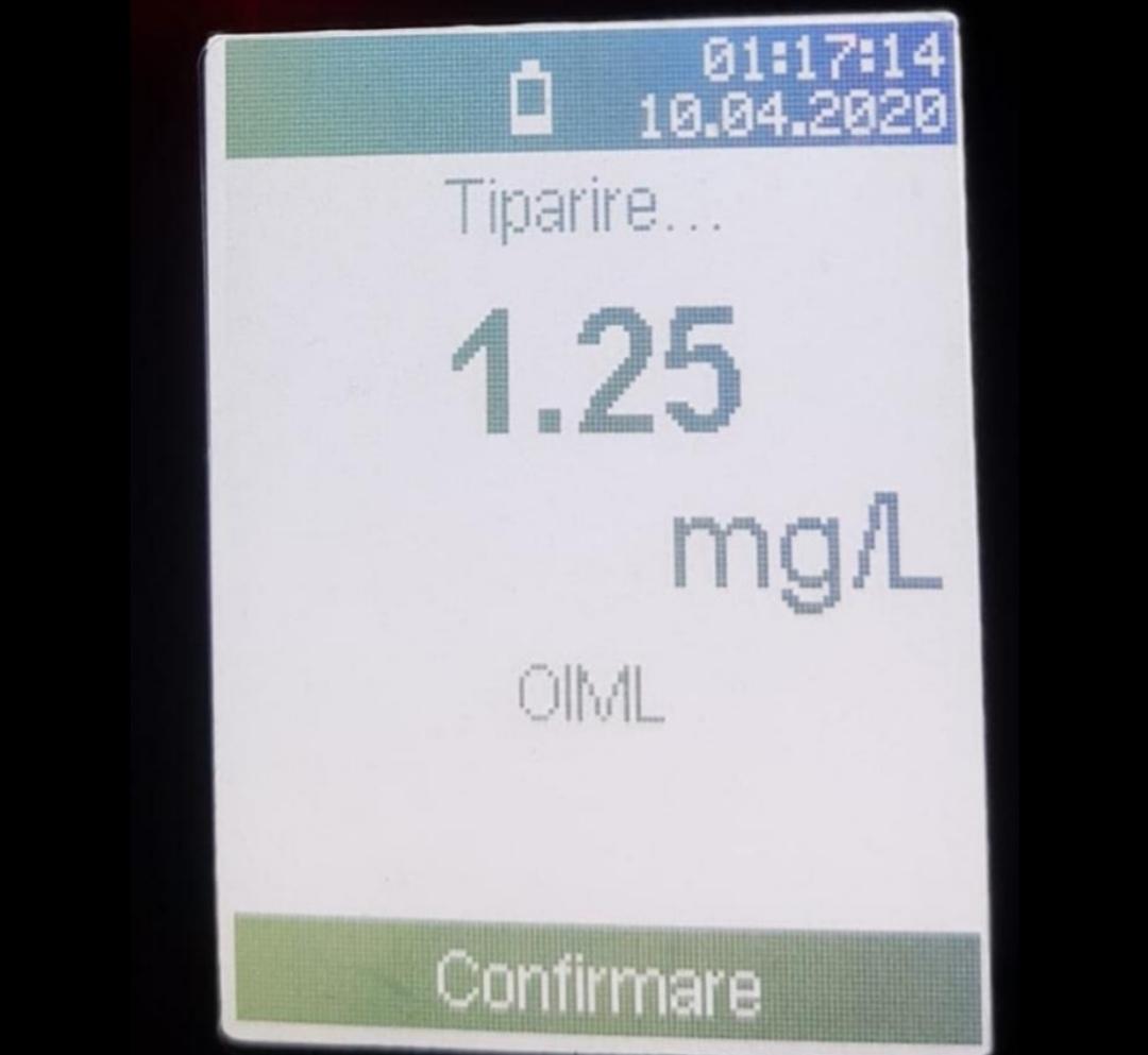 1,25 mg/l alcool pur în aerul expirat și permisul anulat