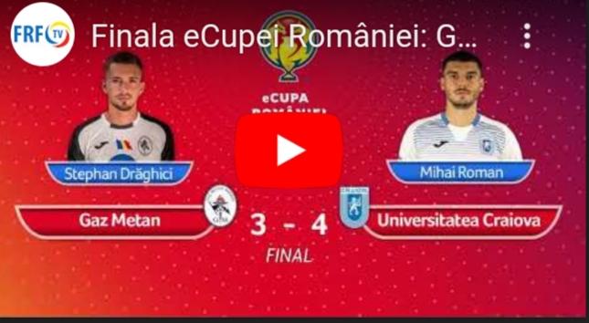Gaz Metan Mediaș a pierdut eCupa României în finala cu Universitatea Craiova