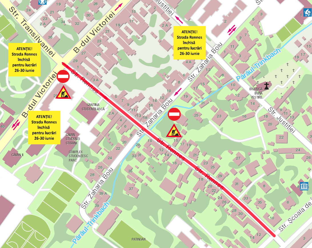 Strada Rennes va fi închisă complet traficului în perioada 26-30 iunie
