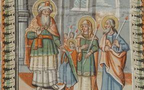 Scena sărbătorii de azi, reprezentată pe bolta naosului unei biserici din Muzeul Astra