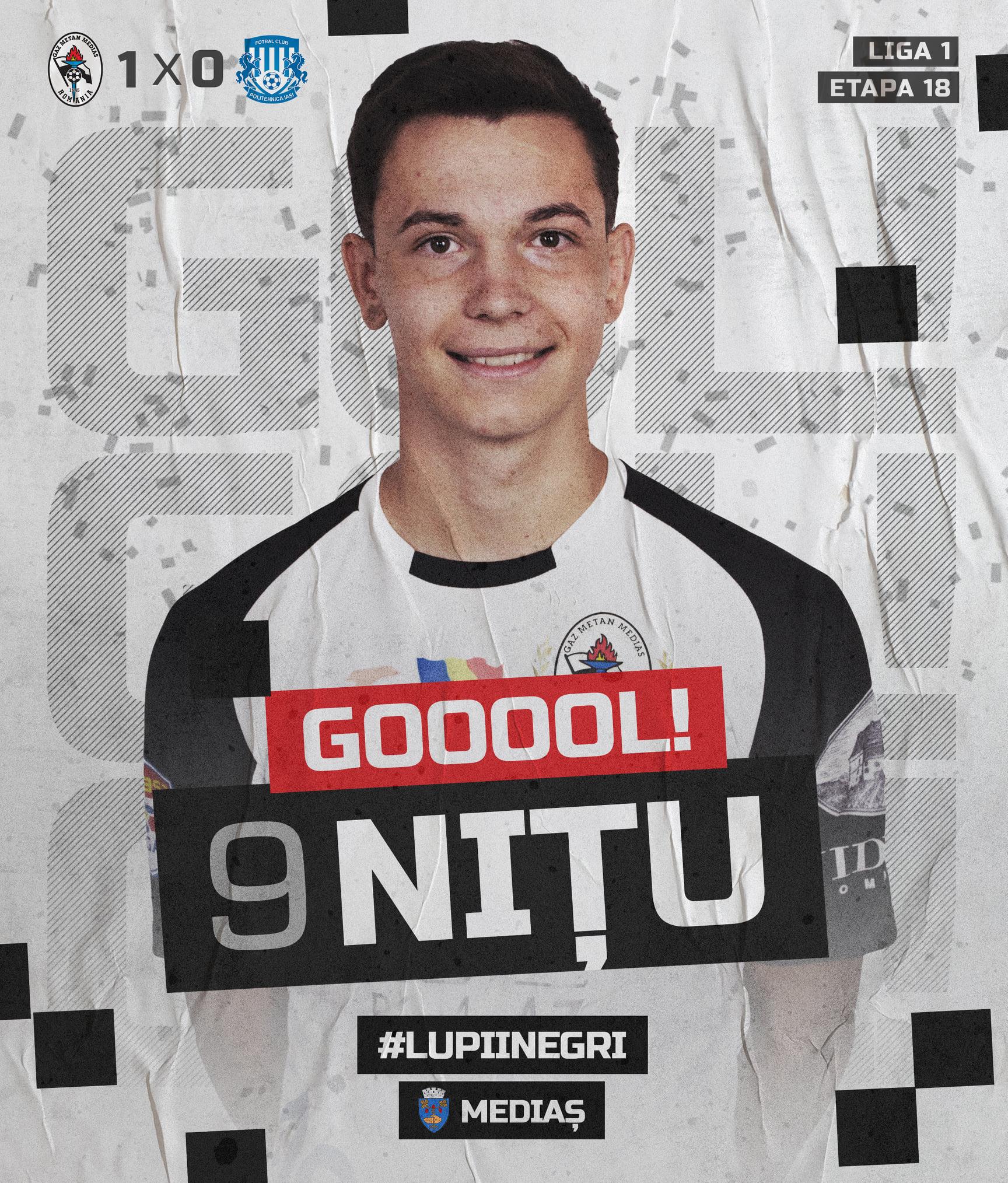 Gaz Metan a învins-o pe Poli Iași, scor 2-1, în runda cu numărul 18 din Liga 1