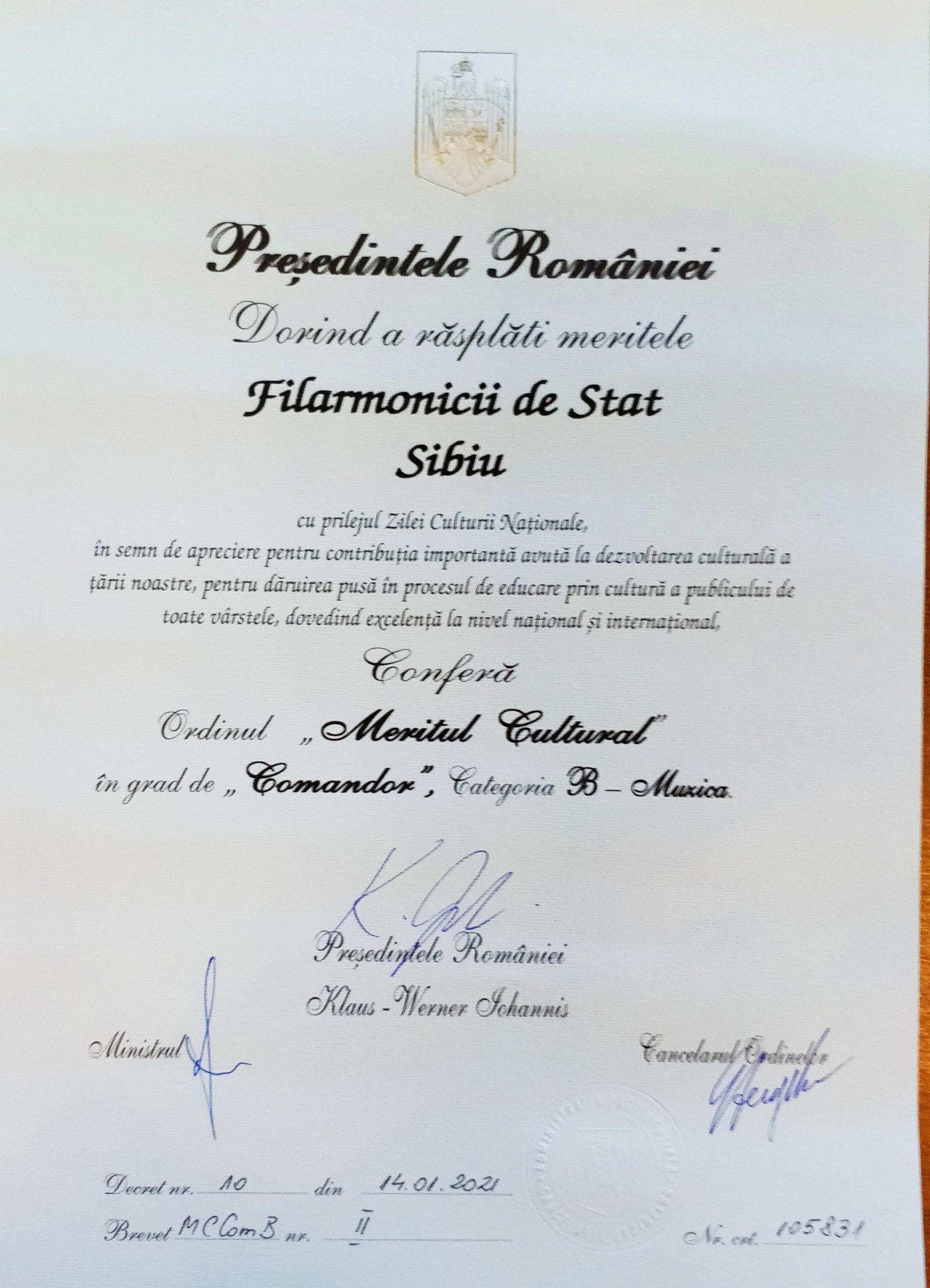 Filarmonica Sibiu decorată de Președintele României