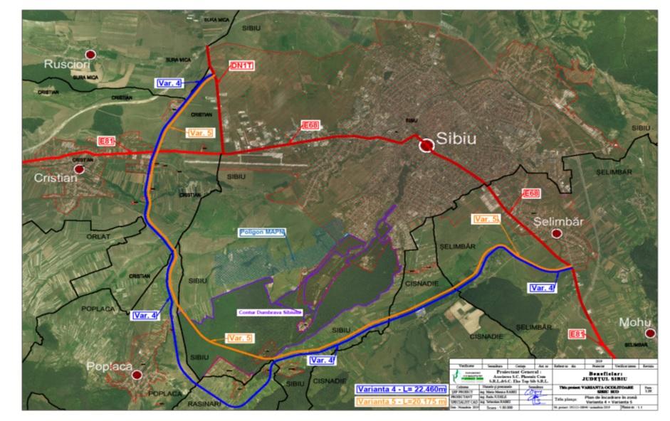 S-a dat sturtul licitației pentru elaborarea Studiul de fezabilitate al Variantei Ocolitoare Sud Sibiu