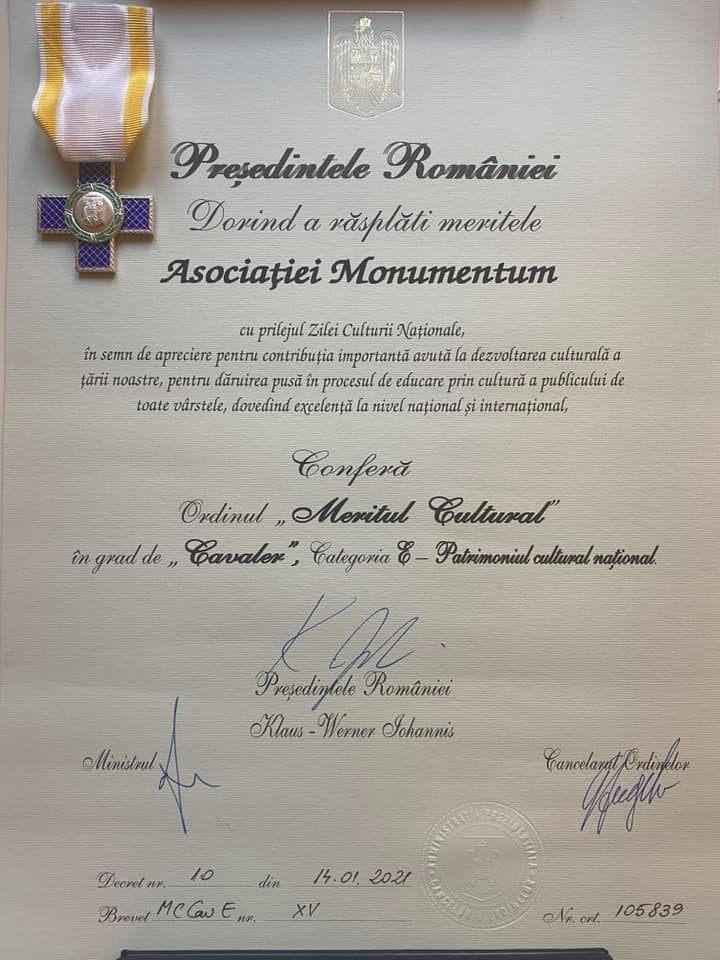 Asociația Monumentum, decorată cu Meritul Cultural în grad de Cavaler