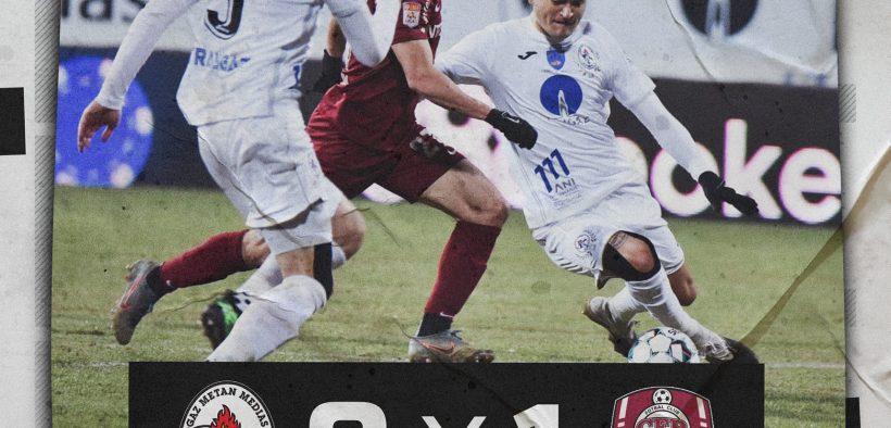 Gaz Metan a pierdut la limită meciul cu CFR Cluj, scor 0-1