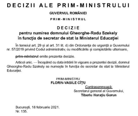 Sibianul Radu Szekely, fostul director de cabinet al Ecaterinei Andronescu, numit secretar de stat la Ministerul Educației