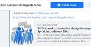 Petiție online -STOP atacului, presiunii și denigrării asupra Spitalului Județean Sibiu