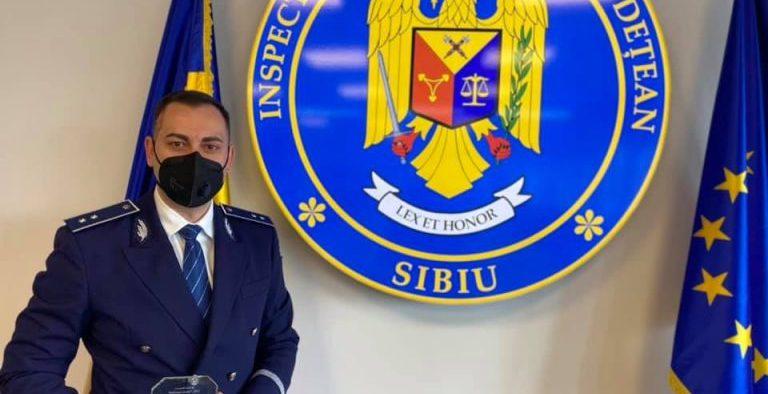 """Alexandru Talpalaru, desemnat """"Polițistul Anului 2020"""" de IPJ Sibiu"""