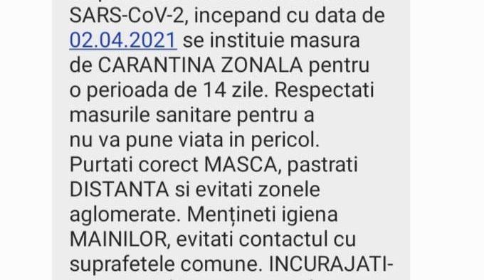 Locuitorii din Cisnădie au primit mesaje RO - ALERT privind carantinarea zonală