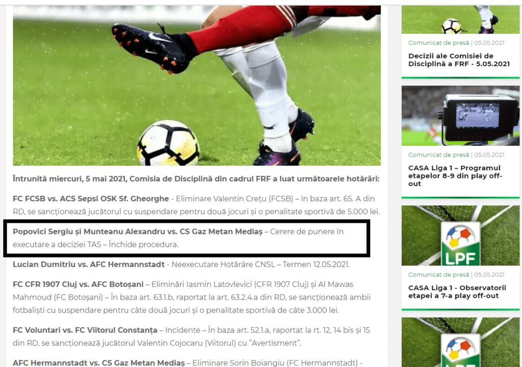 Clubul Gaz Metan Mediaș nu are datorii neachitate către foști jucători