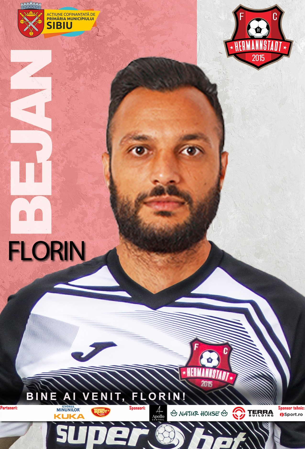 Este fundaș central, are 1,86 înâlțime, poate juca și mijlocaș la închidere sau fundaș dreapta și are o cotă de 350.000 de euro pe siteurile de specialitate. Florin Bejan este unul dintre cei mai experimentați apărători din fotbalul românesc, având peste 260 de meciuri la activ, atât în țară cât și în străinătate. Acesta a mai evoluat în carieră la Viitorul Constanța, FCSB, ASA Tg. Mureș (cu care a câștigat Super Cupa României în sezonul 2015-2016), Cracovia (Polonia), Concordia Chiajna, Astra Giurgiu, Academica Clinceni și Dinamo București, echipă pentru care a bifat 25 de meciuri în sezonul trecut și a marcat două goluri în toate competițiile.