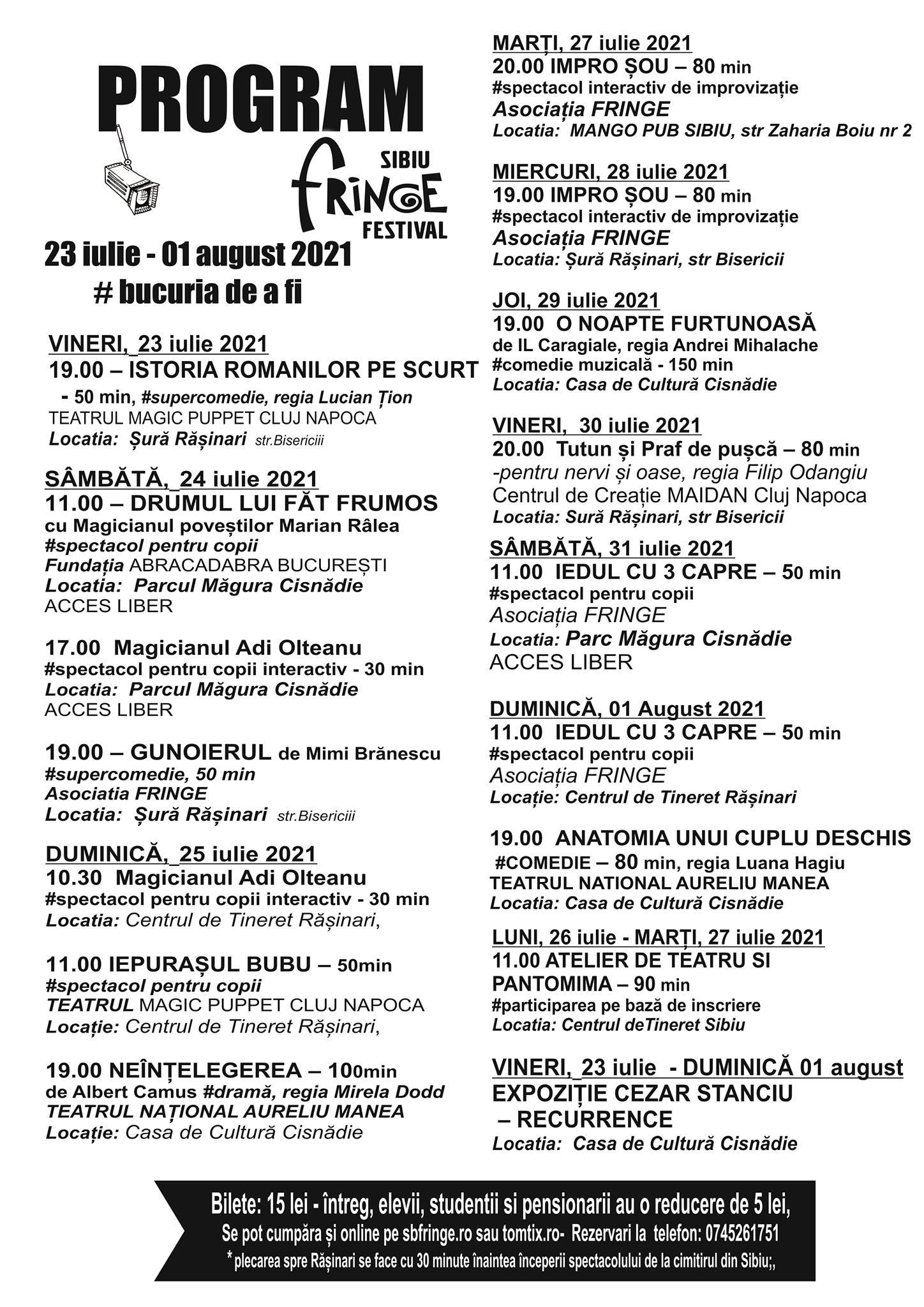 Programul Sibiu Fringe Festival din acest an reunește artiști din mai multe colțuri ale țării