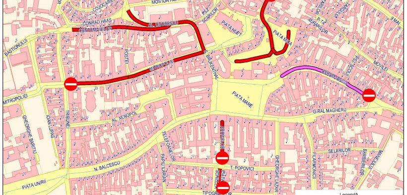 Atenție! Se închide traficul pe mai multe străzi din centrul istoric